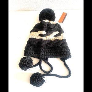 EVELYN K NEW YORK knit beanie trapper hat black